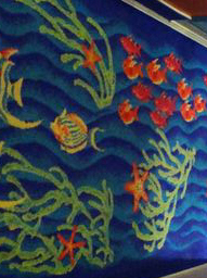 Norwegian cruise ship carpeting showing swimming fish image