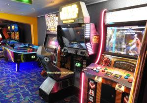 Video arcade area on Carnival Pride cruise ship - Solo Cruising